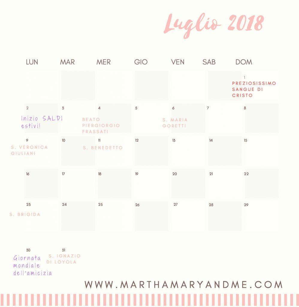 calendario luglio 2018