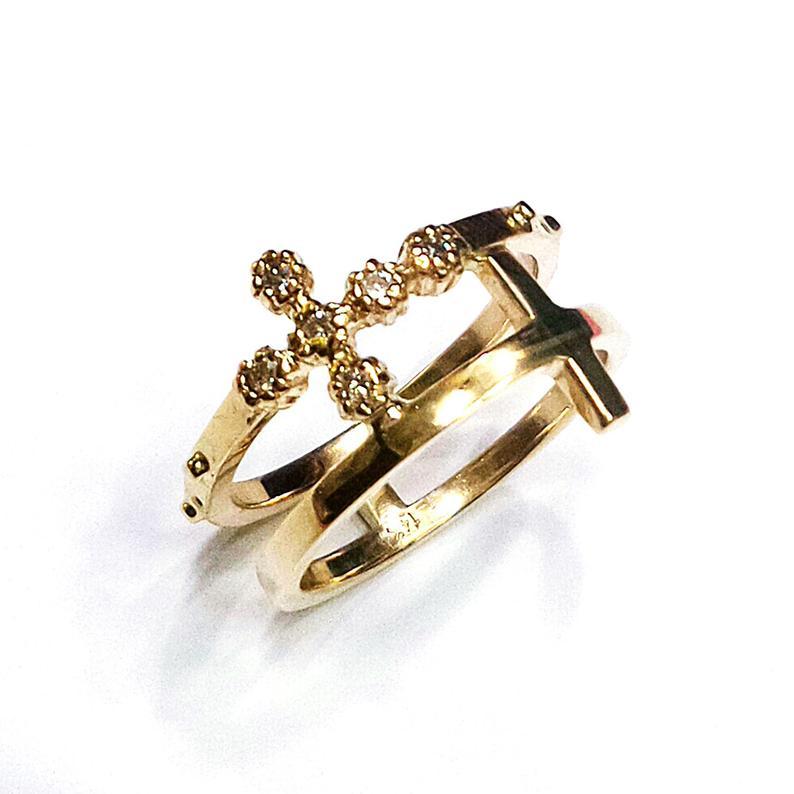 rosario doppia croce anello